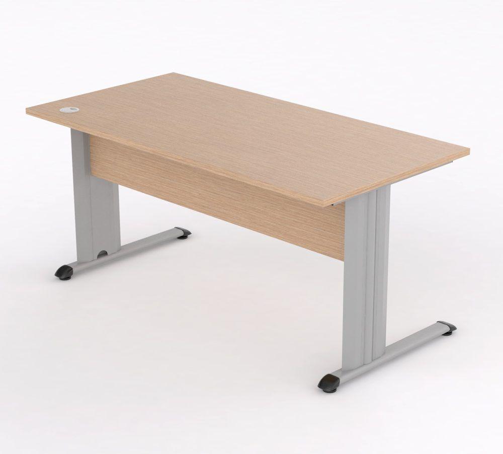 Mesa para oficina con pata metálica en forma de T. | Aulamobel