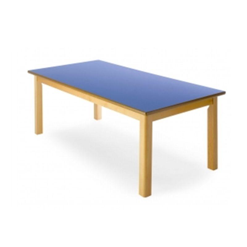 Mesa escolar infantil de forma rectangular y fabricada toda en madera - Mesa infantil plegable ...